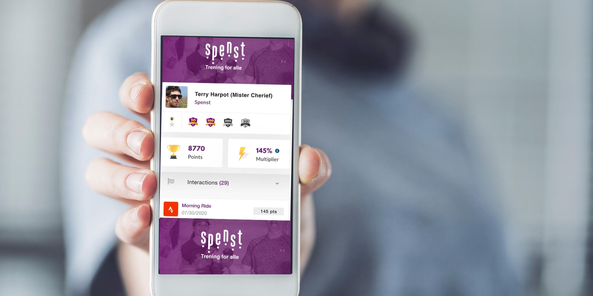 mobiltelefon som viser belønningsprogrammet